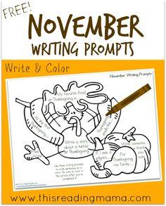 FREE November Writing Prompts - This Reading Mama