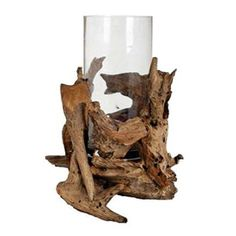 Love the driftwood with the glass. Really easy DIY project.