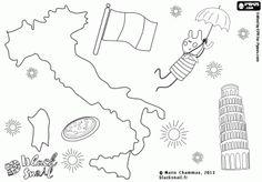 Blinky reizen naar Italië. Mediterraan land met de zon, de pizza en de beroemde monumenten, onder hen de toren van Pisa kleurplaat