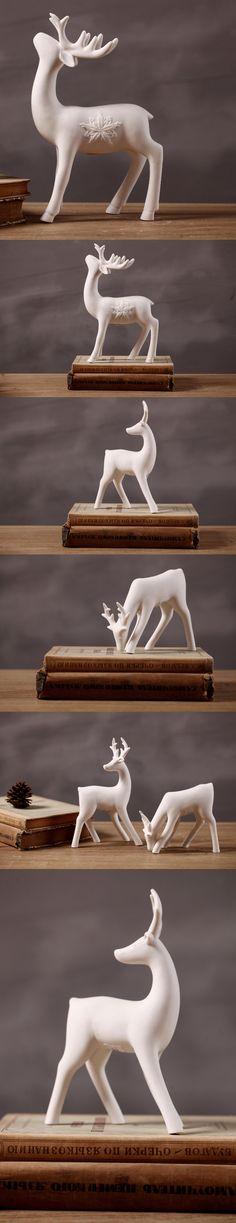 European minimalist white ceramic deer ornaments Creative Home Decoration shoot props window $21.1