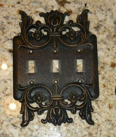 Metal Triple Light Switch Plate Cover Old World Medieval Tuscan Traditional Home decor Hand Made and Hand Painted $34.95