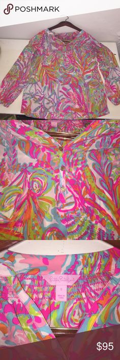 Lilly Pulitzer Scuba to Cuba Elsa This 100% silk Elsa goes great with white pants and feels amazing on. Only worn one time! Non- smoking home, washed and in perfect condition. No trades and price is firm! Lilly Pulitzer Tops Blouses