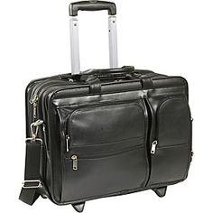 "McKlein USA Clinton Leather Wheeled 17"" Laptop Case - Black - via eBags.com!"