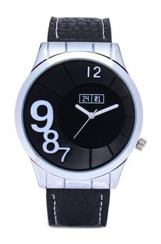 Men's Faux Leather Strap Watch by 24:01. Complete the casual style with the latest collection of watches from 24:01. Men's Faux Leather Strap Watch, leatherette detail timepiece with quasi-gun barrel pebble-textured dial and strap. http://www.zocko.com/z/JJwwW