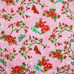 Kinderstoffe Baumwoll - Vogel Auf Blumen Rosa