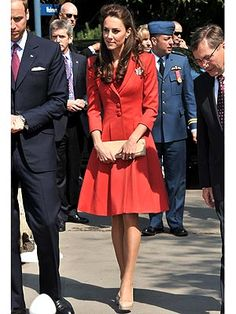 Kate looking amazing in a red Catherine Walker ensemble. This is one of my favorite looks of the whole trip! Perfection. I love seeing her in color!