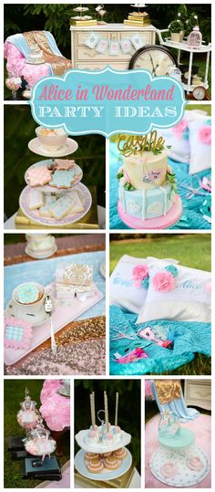 An Alice in Wonderland birthday party with stacked teacups, clocks, keys and birdcage decorations! See more party planning ideas at CatchMyParty.com!