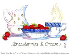 """July - Strawberries & Cream"" -- watercolor illustration by artist, Maia Kobabe -- *red-gold-sparks on deviantART"