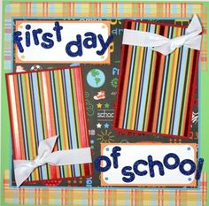 12 x 12 scrapbook layouts | 12 x 12 Premade Scrapbook Layout Boy Girl -- First Day of School