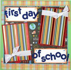 12 x 12 scrapbook layouts | 12 x 12 Premade Scrapbook Layout Boy Girl -- First Day of School