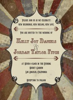 Steampunk Stripes Wedding Invitations by YourPictureFixer on Etsy