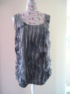 Womens Per Una Shades of Grey Sleeveless Top Size 16 Ruffle Detail