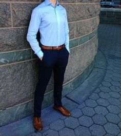 Get a formal look with wearing slim fit trouser with oxford shirt & belt⋆ Men's Fashion Blog - TheUnstitchd.com #MensFashionFormal