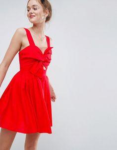 01ab474e31 ASOS Bow Detail Cut Out Skater mini dress in Linen at asos.com