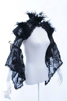 Feather & Black Lace Shrug by RQBL