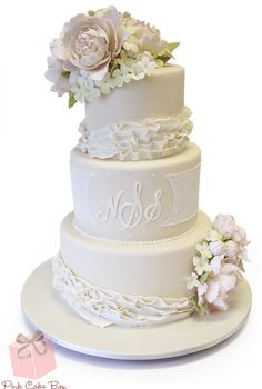Lace Detail and Ruffle Wedding Cake by Pink Cake Box