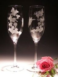 """8 oz. wedding flute """"Morning Glory with butterfly. These multi-level deep carved works of art are hand crafted AND individually signed by master crystal carver Lorraine Coyle. $29.90 ea. + shipping"""