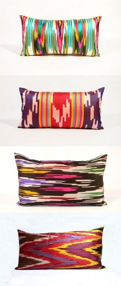 Pretty pillows from Material Recovery Love these ikat style pillows in FABULOUS BOLD fabric. Totally going to take inspiration from this for my new DIY cushions for living room. Textiles, Textile Patterns, Print Patterns, Ikat Pillows, Decorative Pillows, Bright Pillows, Accent Pillows, Estilo Tribal, Piece A Vivre