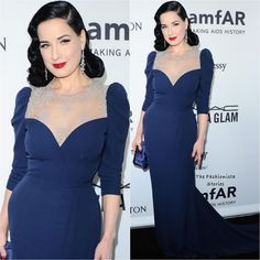 Dita Von Teese in Ulyana Sergeenko Couture at the 2016 amfAR Inspiration Gala Ulyana Sergeenko, Dita Von Teese, Russian Fashion, Red Carpet, Awards, Couture, Formal Dresses, Inspiration, Blue