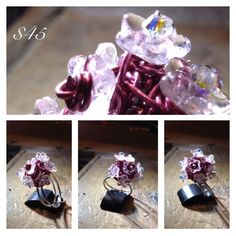 Czec Glass flowers on sterling silver wrapped with zebra wire