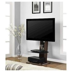 Altra Furniture Galaxy TV Stand with Mount for TVs up to Walnut Finish Need a TV Stand Mount that won't take up a lot of space? The Galaxy TV Stand is Home Theater Furniture, Tv Furniture, Furniture Ideas, Entertainment Furniture, Flat Screen Tv Stand, Tv Stand And Entertainment Center, Entertainment Area, Floating Tv Stand, Swivel Tv Stand