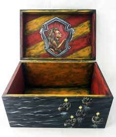 Harry Potter Hogwarts Hand Painted Wooden Box by SweetenYourHome