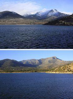 Embalse de Navacerrada al fondo se puede apreciar el pico de la Maliciosa y la Bola del Mundo, vista desde la vertiente madrileña. Arriba, imagen tomada en Febrero de 2014 y abajo, en Octubre de 2013.