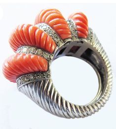 This vintage Cartier, Paris ring features dramatically carved coral elements accentuated with diamonds, and set in gold. It is a great example of the original and beautifully executed jewelry that Cartier used to produce. Coral Ring, Coral Jewelry, Diamond Jewelry, Cartier Jewelry, Jewellery, Modern Jewelry, Vintage Jewelry, Yellow Engagement Rings, Turquoise