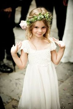 Bohemian flower girl with floral headpiece