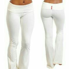 LA Base White Yoga Pants ?They are in excellent condition. No wear stains or rips. LA Base?Women's Long?Yoga Pants?With Fold Down Waist .... Very long, thin,?white?is kind of transparent. They are a size small. Please let me know if you have any questions. I do except trades and please make an offer! LA Base Pants Track Pants & Joggers