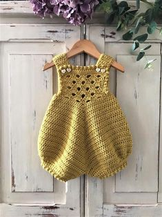 Crochet Pattern Baby Romper Newborn to 24 months Baby Romper Pattern, Crochet Baby Dress Pattern, Crochet Romper, Crochet Bebe, Baby Girl Crochet, Crochet Baby Clothes, Crochet For Kids, Knitted Baby Romper, Crochet Baby Dresses