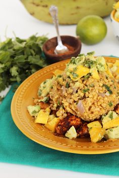 Spicy Chicken and Plantain Rice with Mango-Avocado Salsa by @Inspiralized on inspiralized.com