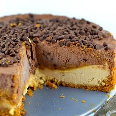 No-Bake Vegan Peanut Butter & Chocolate Cheesecake - May I Have That Recipe