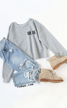 Grey Letter Print Crop Sweatshirt