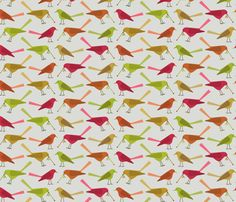 Reminds me a little of Charley Harper. early bird fabric by troismiettes on Spoonflower - custom fabric