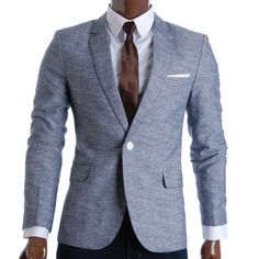 Shop FLATSEVEN Mens Slim Fit Linen Stylish Casual Blazer Jacket Grey, M. Free delivery and returns on eligible orders. Casual Blazer, Designer Clothes For Men, Designer Clothing, Slim Man, Mens Suits, Outfit, Blazer Jacket, Mens Fashion, Stylish