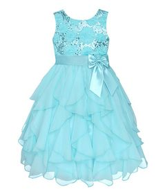Take a look at this Blue Sequin Ruffle Dress - Infant, Toddler & Girls by American Princess on #zulily today!