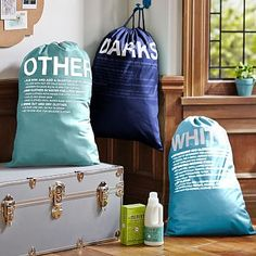 For DAD...the instructions on how to wash clothes is on each bag! Easy Sort Laundry Bags, Set of 3, Cool #pbteen