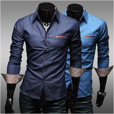 Men's Denim Shirt with Inner Plaid Details