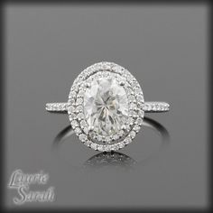 Oval Moissanite Engagement Ring with Diamond Double Halo - LS1732. $3,462.00, via Etsy.