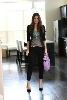 ♥ gray t shirt, black pants, jacket, pumps big chunky necklace = business casual