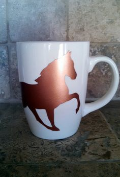 Copper Horse Silhouette Coffee Mug by PawPrintsAndPuppies on Etsy