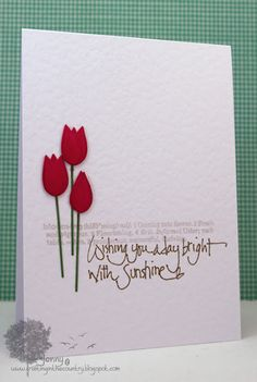 Flowers made from crisp bow die cut- Memory Box; definition is stamp from Printworks