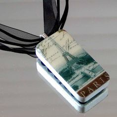 Eiffel Tower PARIS Altered DOMINO NECKLACE by gmPurseanalities, $12.00