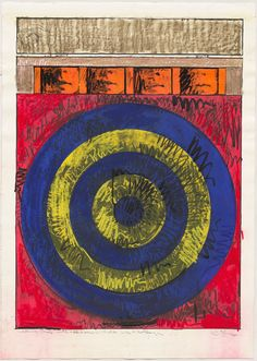 Target with Four Faces by Jasper Johns (1968) screenprint, working proof with chalk, ink and collage. Returning to imagery seen in his 1955 painting of this title, Johns combines the rhythmic geometry of the concentric target bands with four images of the human face, emphasizing variation in repetition—an essential element of Johns' art. The model is choreographer Merce Cunningham (1919–2009), whose dance company used an image of the related edition print for a poster.