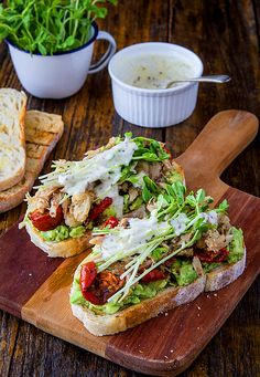 chicken & avocado sandwich with snow pea sprouts & semi-dried tomatoes