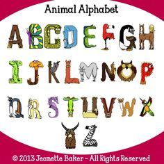 Animal Alphabet © Jeanette Baker.  Available at Jason's Online Classroom. $$