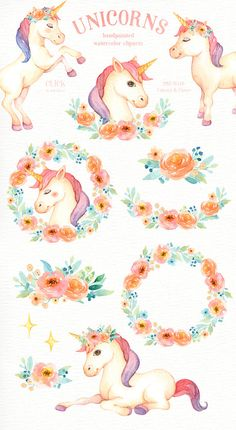 The set of high quality hand painted watercolor unicorns and flowers images. Included pre-made bouquets and wreath arrangements. Perfect for wedding invitations, greeting cards, quotes, posters, logo, blogs and DIY. What do you get: 5 x Unicorns in PNG with transparent background & JPG with white background, 800x800px ~ 1500x1600px. 25 x Flower, leaf, star, rainbow and elements in PNG with transparent background & JPG with white background, 200x300px ~ 4000x2000px. 5 x Floral bouq...