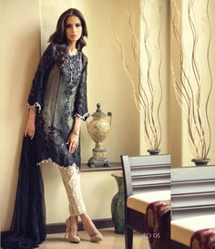 Maria B  Embroidered  Chiffon Suit BD_05