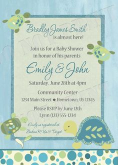 Personalized Turtle Reef Baby Shower Invitation - DIY Printable